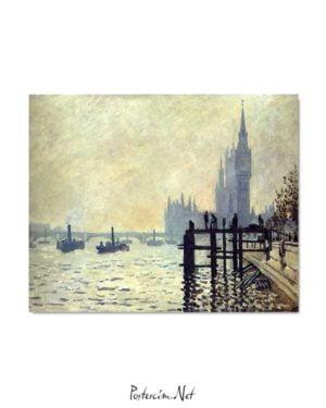 Claude Monet - Thames Nehri ve Parlamento Binası posteri