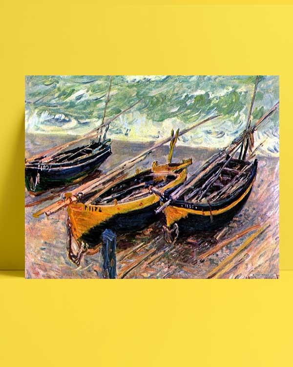 Claude Monet - Üç Balıkçı Teknesi afişi