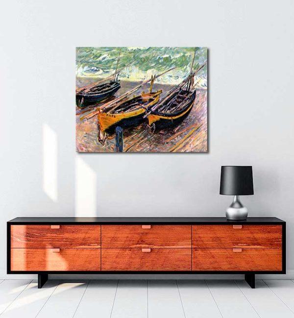 Claude Monet - Üç Balıkçı Teknesi kanvas tablo