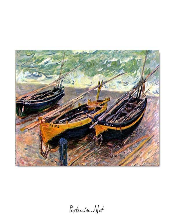 Claude Monet - Üç Balıkçı Teknesi posteri