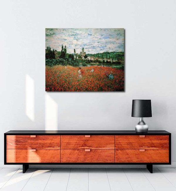 Claude Monet -Vetheuil Gelincik Tarlası kanvas tablo