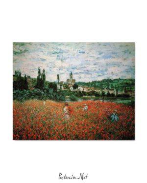 Claude Monet -Vetheuil Gelincik Tarlası posteri