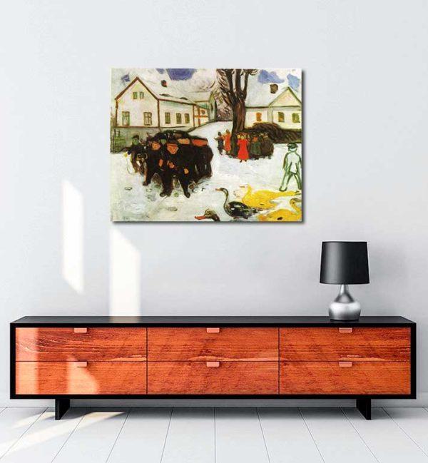 Edvard Munch - Kasaba Caddesi kanvas tablo