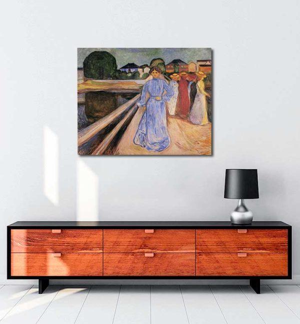 Edvard Munch - Köprü Üstündeki Kadınlar kanvas tablo