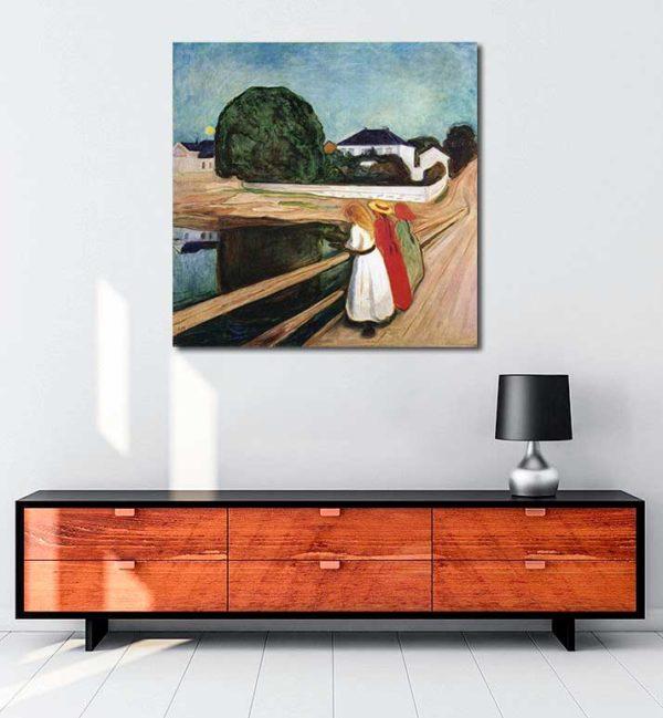 Edvard Munch - Köprü Üstündeki Kızlar kanvas tablo