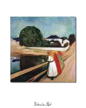 Edvard Munch - Köprü Üstündeki Kızlar posteri