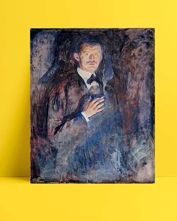 Edvard Munch - Yanan Sigaralı Otoportre afişi