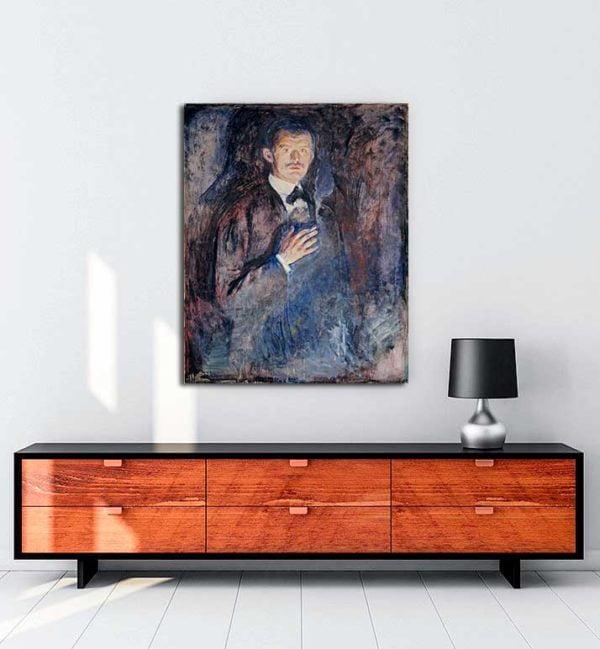 Edvard Munch - Yanan Sigaralı Otoportre kanvas tablo