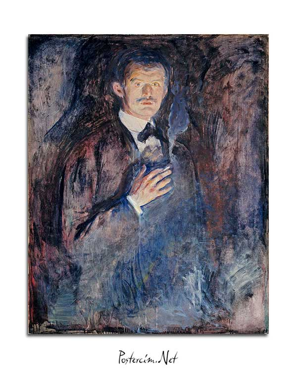 Edvard Munch - Yanan Sigaralı Otoportre posteri