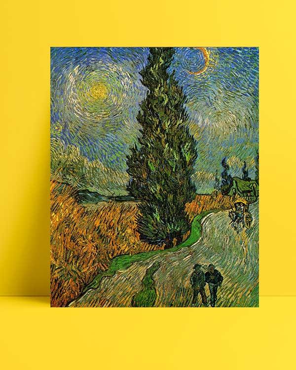 Vincent van Gogh - Yıldızların Altında Servili Yol afişi
