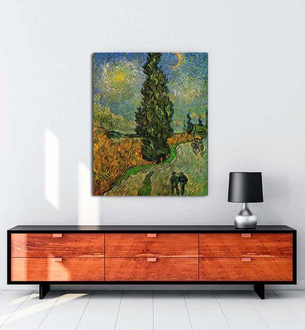 Vincent van Gogh - Yıldızların Altında Servili Yol kanvas tablo
