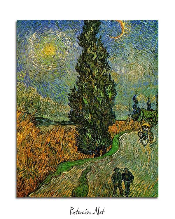 Vincent van Gogh - Yıldızların Altında Servili Yol posteri
