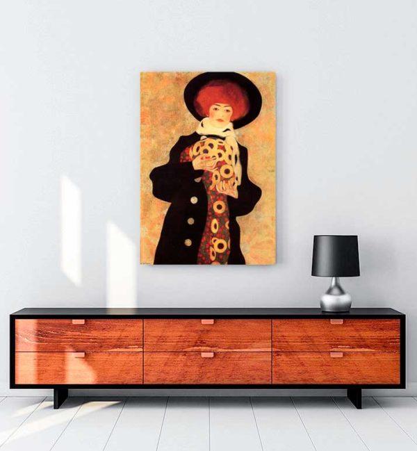Woman With Black Hat Kanvas Tablo