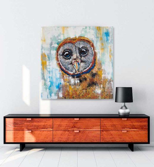 Baykuş Portresi kanvas tablo