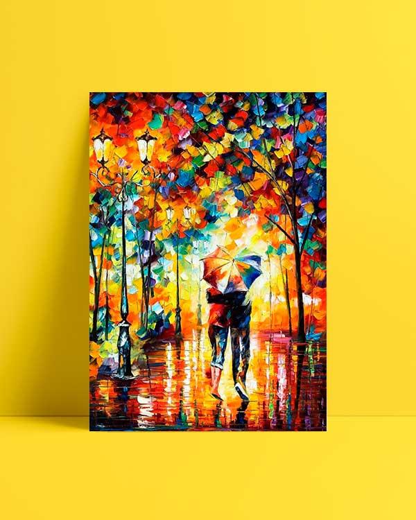 Couple Under One Umbrella afiş