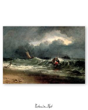 Fishermen Upon a Lee Shore in Squally Weather poster