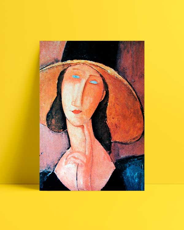 Jeanne Hebuterne in Large Hat afiş