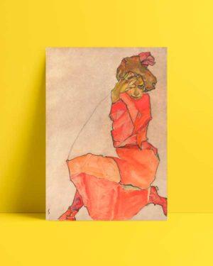 Kneeling Girl in Orange Red DressKneeling Girl in Orange Red Dress Afiş