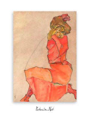 Kneeling Girl in Orange Red Dress Poster