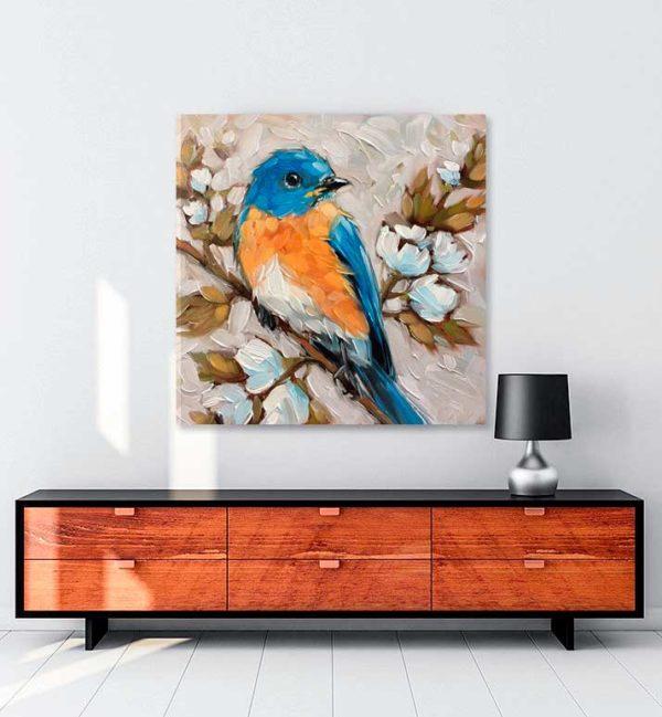 Mavi Kuş kanvas tablo