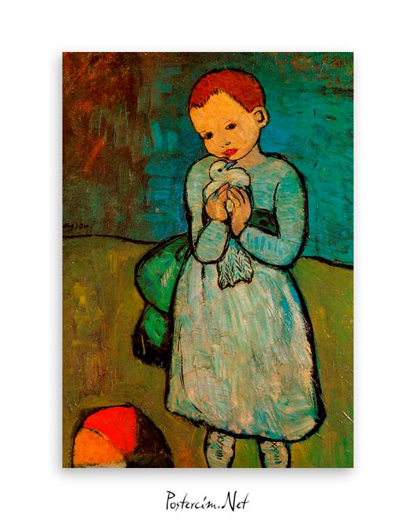 Painting Of The Child Holding The Pigeon poster