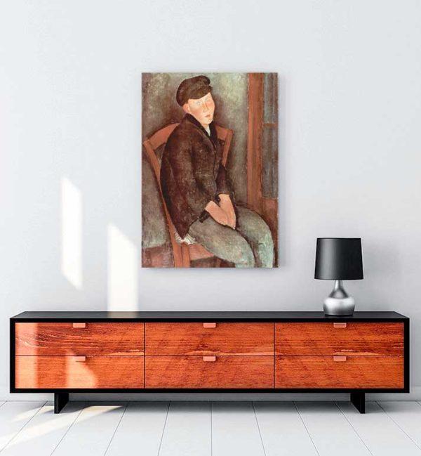 Seated Boy with Cap kanvas tablo