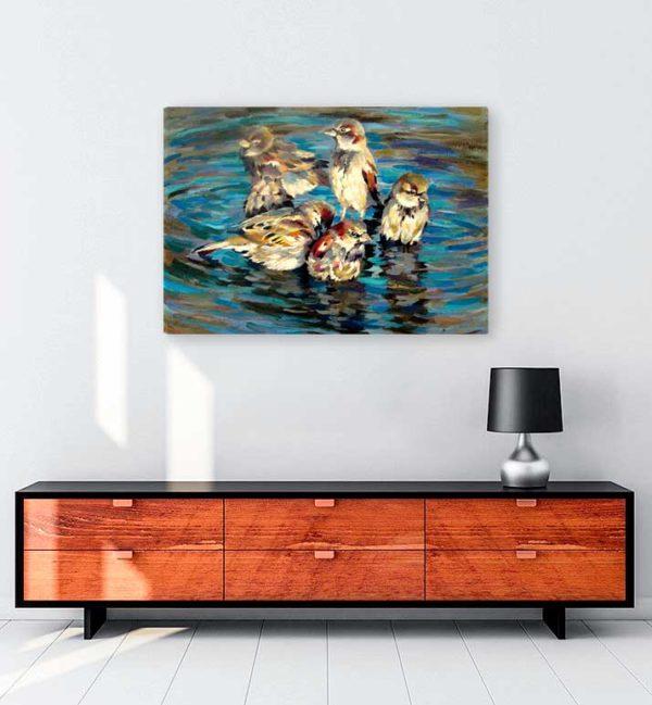 Sparrow Family kanvas tablo
