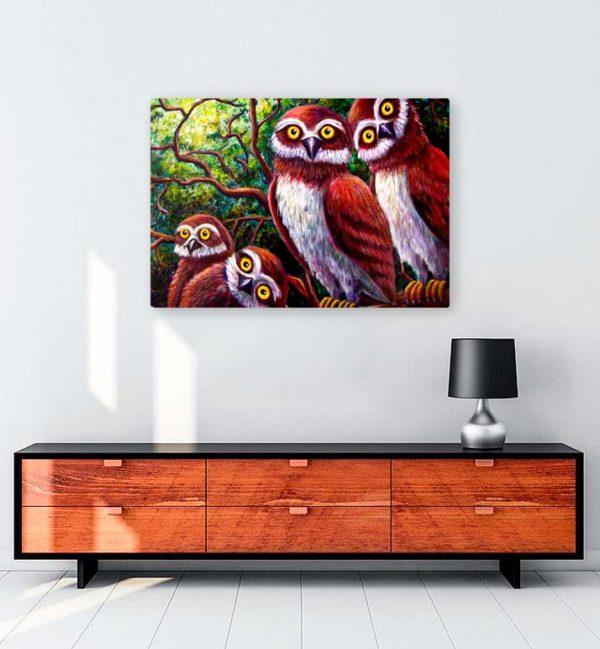 Surprised Owls kanvas tablo