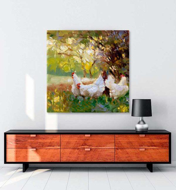 Üç Tavuk kanvas tablo