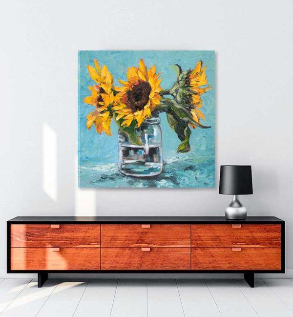 Ayçiçekleri 4 kanvas tablo