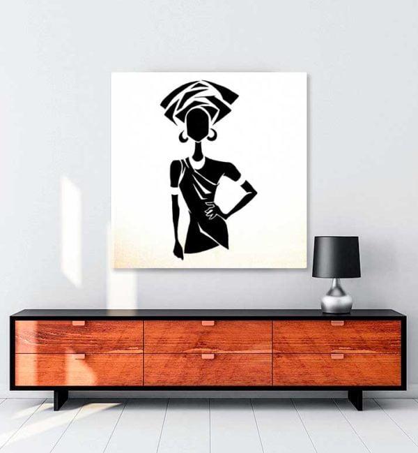 Black and White Woman kanvas tablo