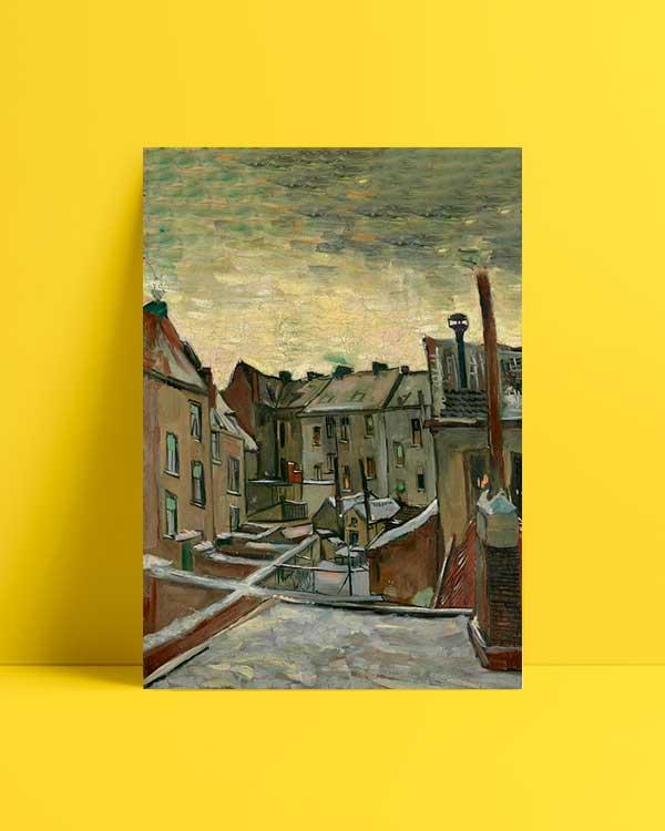 Van Gogh Backyards of Old Houses in Antwerp in the Snow afiş satın al