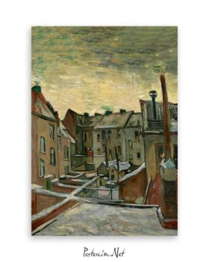 Van Gogh Backyards of Old Houses in Antwerp in the Snow poster satın al