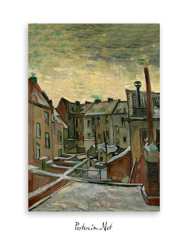 Van Gogh Backyards of Old Houses in Antwerp in the Snow poster satın al
