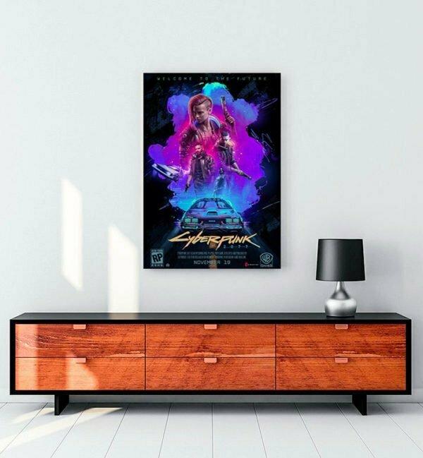 cyberpunk 2077 oyun kanvas tablo