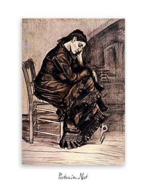 Femme Affligée Crayon 1883 van gogh poster