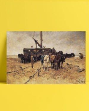 Vincent Van Gogh Anton Mauve Beached Boat with Horses afis al