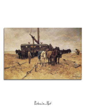 Vincent Van Gogh Anton Mauve Beached Boat with Horses poster al