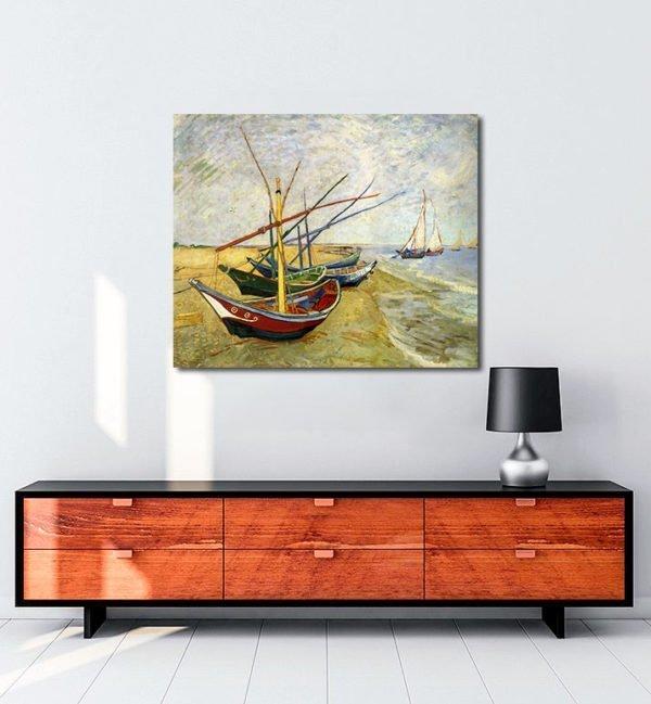 Vincent Van Gogh Bateaux aux Saintes Maries tablo
