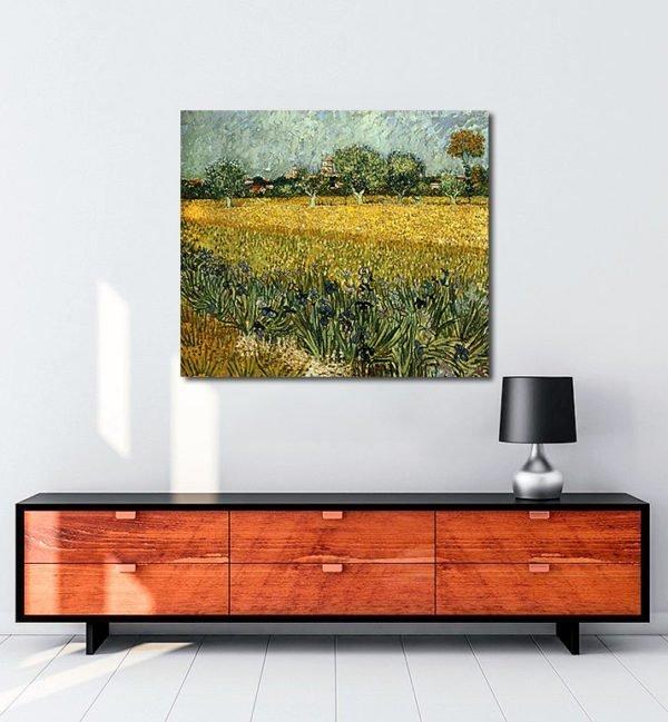 Vincent Van Gogh Champ de fleurs près d'Arles tablo al