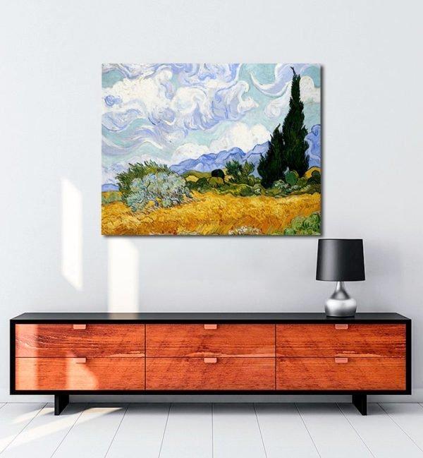 Vincent Van Gogh Corn field and cypress tablo al