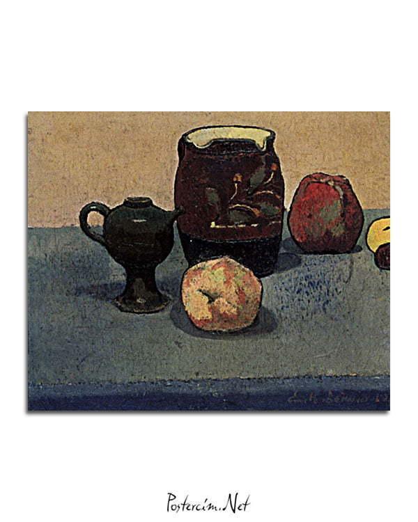Vincent Van Gogh Emile Bernard Nature morte pot de grès et pomme poster al