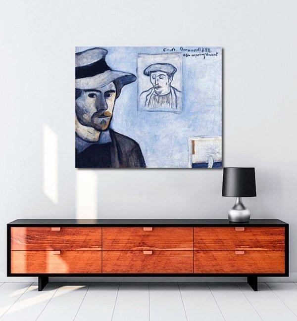 Vincent Van Gogh Emile Bernard Self Portrait with a Portrait of Gauguin tablo al