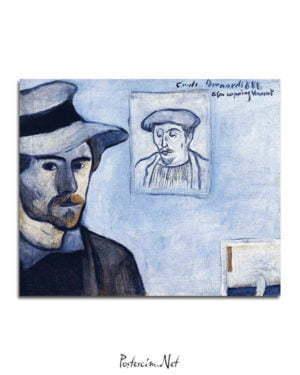 Vincent Van Gogh Emile Bernard Self Portrait with a Portrait of Gauguin poster al