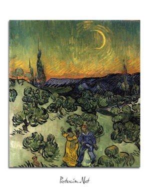 Vincent Van Gogh Evening Promenad poster al