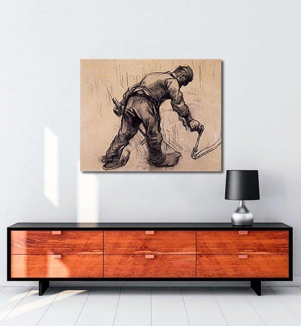 Vincent Van Gogh Faucheur Craie noire estompée tablo al