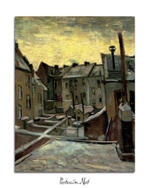 Vincent Van Gogh Façades arrière de vieilles maisons Frontages postpones old houses kanvas al