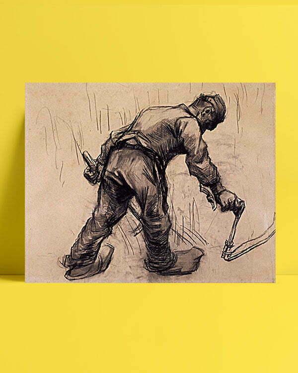 Vincent Van Gogh Faucheur Craie noire estompée kanvas al