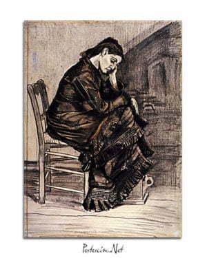 Vincent Van Gogh Femme affligée crayon, plume et pinceau, sépia et lavis afis al