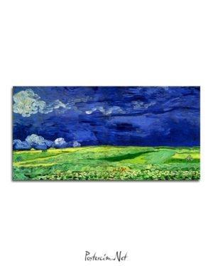 Vincent Van Gogh Fields under a stormy sky poster al